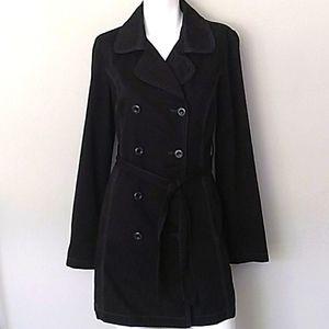 Merona Black Jacket w/ Belt. Sz Medium